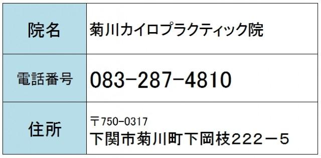 菊川カイロプラクティック院の住所電話番号