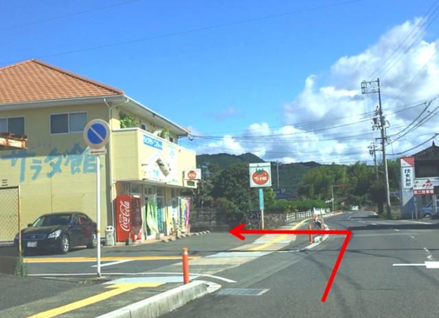 ⑥すぐトマトのマークの「サラダ館」さんが見えます。当院は、同じ建物の左隣です。